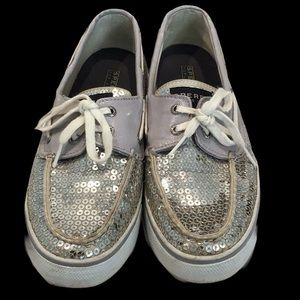 Sperry Top Sider Silver Sequin Boat Shoes Sz 9